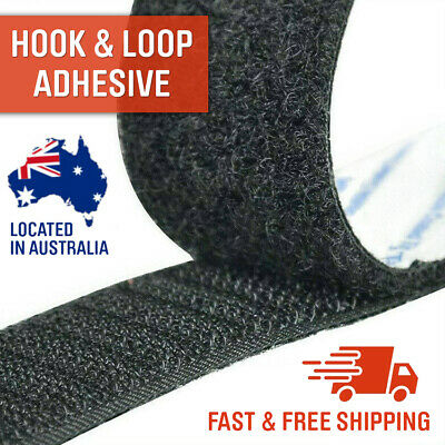 Self Adhesive HOOK and LOOP Fastener Tape Sticky Back Black White 25mm Fastening