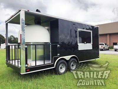 New 2019 8.5X20 Enclosed Wood Fired Brick Pizza Oven Concession Kitchen Trailer