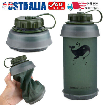 Portable 750ML Outdoor Sport Travel Camping Foldable Collapsible Water Bottle AU