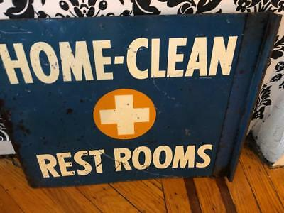 """RARE!! 1940's Metal Flanged Hospital Sign That reads """"Home-Clean Rest Rooms"""""""