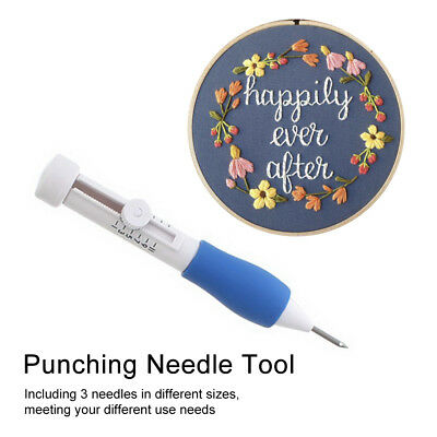 1Sets Blue Hand Shank Craft Punch Needles Embroidery Tools 23x12cm AU stock