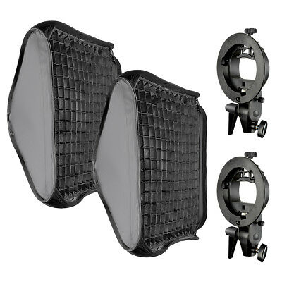 60x60cm Bowens Mount Softbox with Grid and S-type Flash Bracket for Speedlite