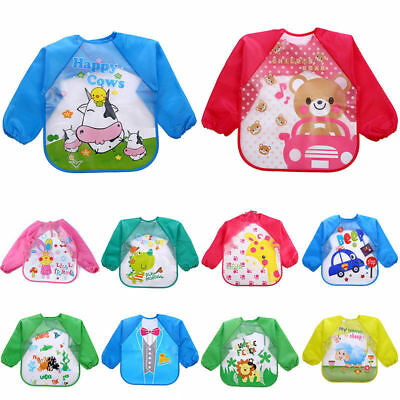 Kids Baby Boy Girl Cartoon Bibs Waterproof Saliva Feeding Apron Long Sleeve Bib