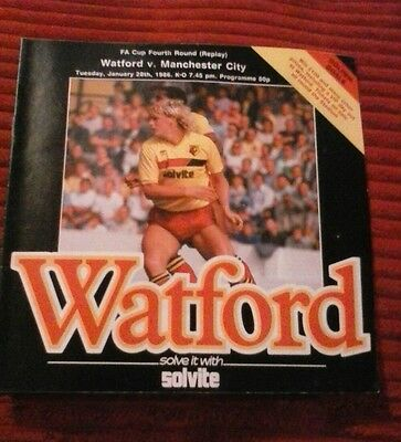 Watford vs Manchester city. 1986. Fa cup 4th rd replay. Good/Very Good Condition