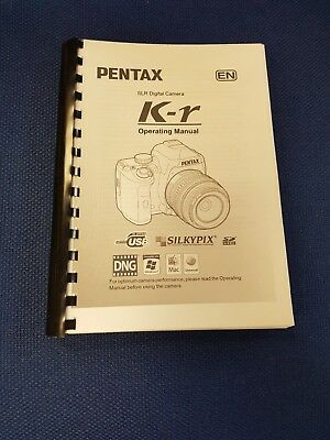 Pentax K-R Printed Instruction Manual User Guide 355 Pages A5