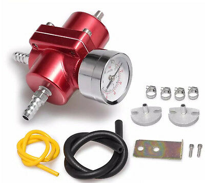"Fuel Pressure Regulator with Gas Hose Kit 0-140 PSI 3/8"" NPT - Red for Racing"