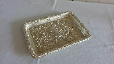 Large Antique Sterling Silver Repousse Tray - 1903 - 286.7g - Scrap Or Resell