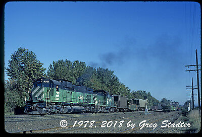 Burlington Northern ALCO C-636 #4361 leads a C-415 in Portland, OR (1978)