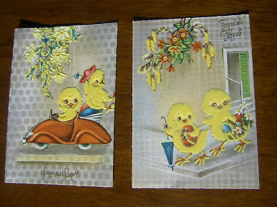 2 Cartes Joyeuses Paques Floquees Annees50/60