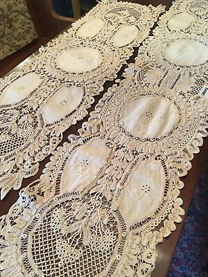 Beautiful Set of Two Antique Vintage Italian Ecru Linen & Lace Table Runners