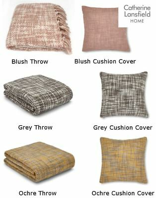 Catherine Lansfield Tonal Weave Throw Blanket Or Cushion Covers Scatter Chunky