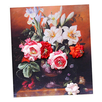 DIY Lily Bouquet Painting Ribbon Embroidery Kits Wall Decoration No Frame