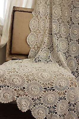 Vintage  French 80X80 crochet textile handmade lace textile bed cover