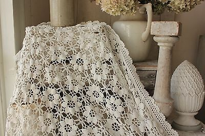 Blanket Vintage handmade French Crocheted coverlet lace white 76X63 inches