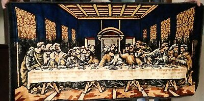 Vintage VELVET TAPESTRY ART  OF THE LAST SUPPER made in ITALY