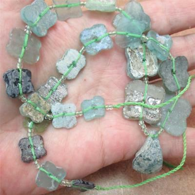 NEW!!  RARE--Ancient, Roman Glass Beads, Aqua clover shaped, 25 beads