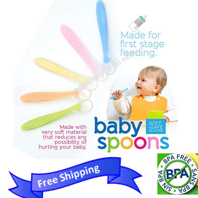 Baby First Stage Feeding Spoons Soft Silicone BPA Free Colored 5 Set Ashtonbee
