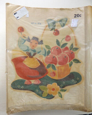 Vintage Meyercord Beauty Spot Decal Dutch Girl & Apples New Old Stock