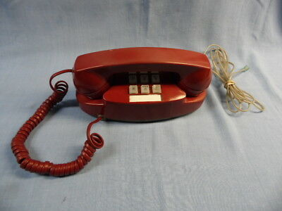 Vintage Bell System Red Touch Tone Princess Phone  - Tested & Works Well!