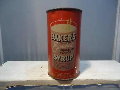 Old Walter Baker's Chocolate syrup vintage metal / tin can  Advertising