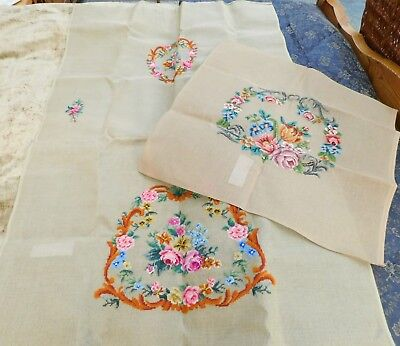2 Large Pieces of Needlepoint Canvas w/ Embroidered/Needlepoint Sections