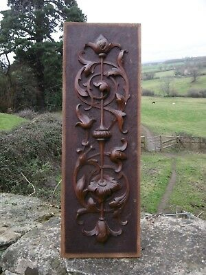 SUPERB 19thc ART NOUVEAU MAHOGANY CARVED PANEL WITH FLORAL SPRAY