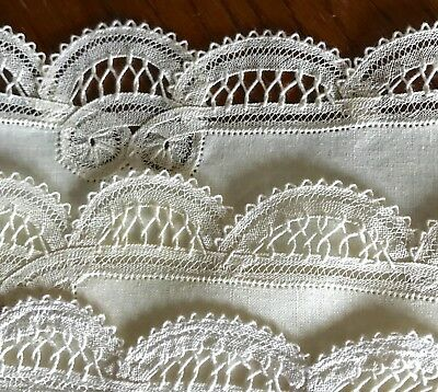 VINTAGE PLACEMATS LINEN TAPE LACE SET OF 7 IVORY 11 x 17 INCH