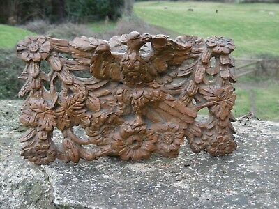 SUPERB 19thc GOTHIC OAK CARVED PANEL WITH WINGED GARGOYLE