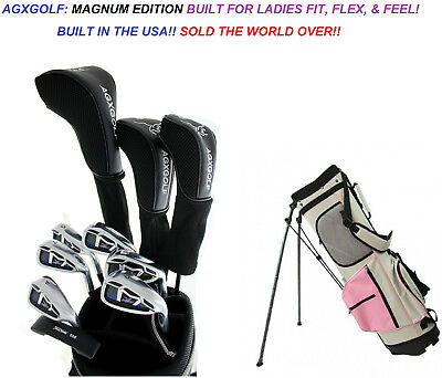 Agxgolf Ladies Tall Magnum Complete Golf Club Set- Driver+Hy+ Irons +Pink Bag+Pt