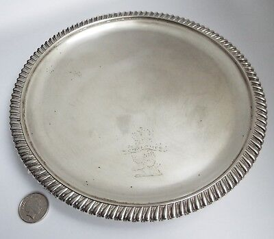 Fine Heavy English Antique Georgian 1819 Solid Sterling Silver Salver Card Tray