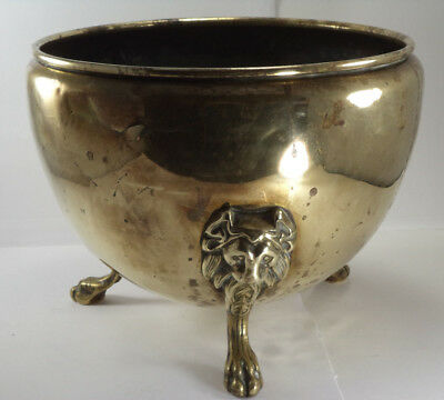 Large BRASS PLANTER Tripod LION HEAD LEGS Pot Fireplace Log Bucket Coal Scuttle