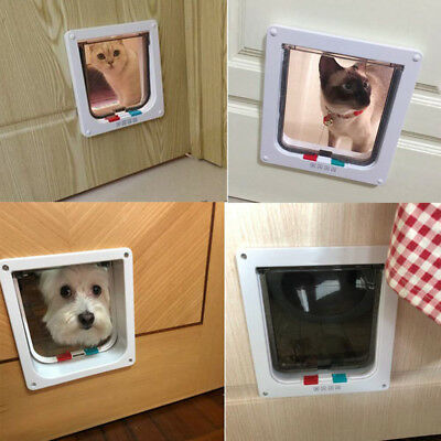 Dog Cat Mate 4 Way Locking Large Cat Small Dog Flap White Catflap Pet Door