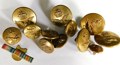 Vintage Royal Air Force Brass Buttons and Medal Ribbon Bar