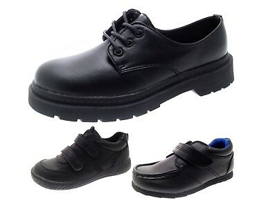 Boys Black Faux Leather School Shoes Lace Up Sports Trainers Smart Wedding Shoes