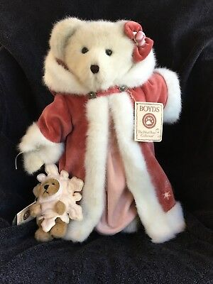 """Boyds Bears Jointed Weighted 14"""" Bear GENEVIEVE FROSTBERRY and 5.5""""  BLIZZ  Tags"""