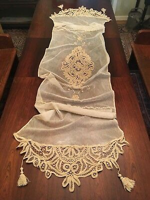 """Antique Lace Netting Italian Lace Ecru 91"""" Table Runner or Pillow Cover Tassels"""