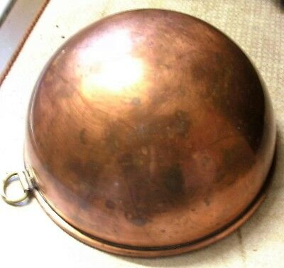 Copper Mixing Bowl Vintage with brass ring heavy round bottom rolled rim