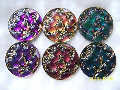 REDUCED  CZECH GLASS CABOCHONS (6 pcs)  27mm 3 PAIRS   24K GOLD