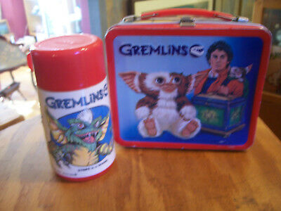 Vintage 1984 Aladdin GREMLINS Metal Lunch Box With Thermos