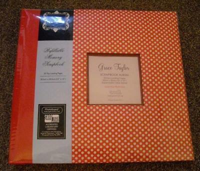 """Unused Grace Taylor Scrapbook Album 12"""" x 12"""" Red With White Polka Dots 2011"""