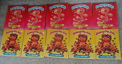 Garbage Pail Kids 1986 folders lot of 10 doubled-side ITCHIE RICHIE & DIZZY DAVE
