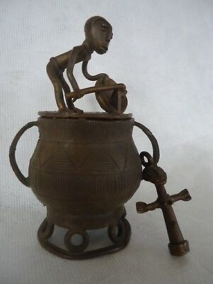 Old Bronze African Small Pot And Cross