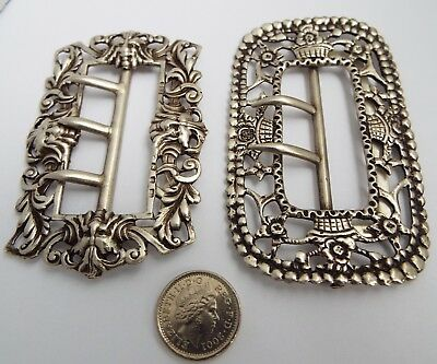 2 BEAUTIFUL LARGE DECORATIVE ENGLISH ANTIQUE c.1895 STERLING SILVER BELT BUCKLES