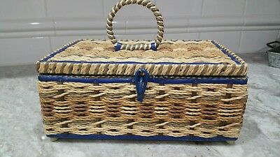 DRITZ WICKER WOVEN SEWING BASKET LINED INTERIOR PIN CUSHION 1960's Vintage