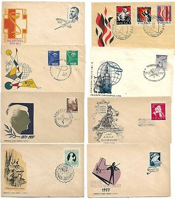 Poland Stamps . 8 Fd Covers 1957,