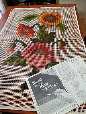 Lg Stamped Rug Canvas 40x26 Colorful Tropical Floral Latch Hook