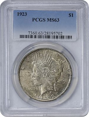 1923 Peace Silver Dollar MS63 PCGS Blotchy Pewter Toned on Obverse