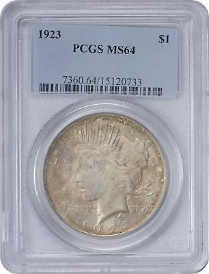 1923 Peace Silver Dollar MS64 PCGS Cloudy Grey Toned on Obverse