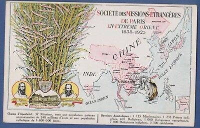 Catholic missions in Tibet China Japan Korea Singapore Malaysia old map Postcard