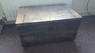 Vintage Wooden Tool Box Chest / Coffee Table